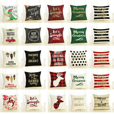 Merry Christmas Pillow Case Bed Waist Cushion Cover Cafe Home Decor Code ()