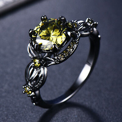 Women's Flower Black Gold Filled Round Olive Green Peridot Ring Wedding Jewelry
