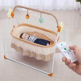Mega Discount! Fashion Electric Baby Crib with Mosquito Nets,Baby Bed Baby Shaker Cradle Swing