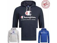 New Men's Champion Logo Hooded Sweatshirt Jumper Sweater Hoodie -100% AUTHENTIC