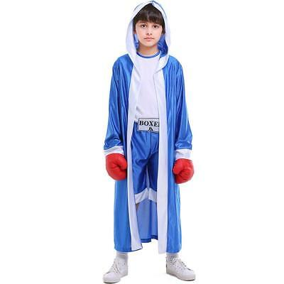 Kid Boxer Halloween Costumes (Boys Boxing Hooded Costume Kids Knock Out Boxer Robe Halloween Cosplay)