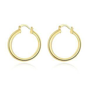 Las 10k Yellow Gold Plated Scalloped Textured Hinged Post Hoop Earrings 34mm