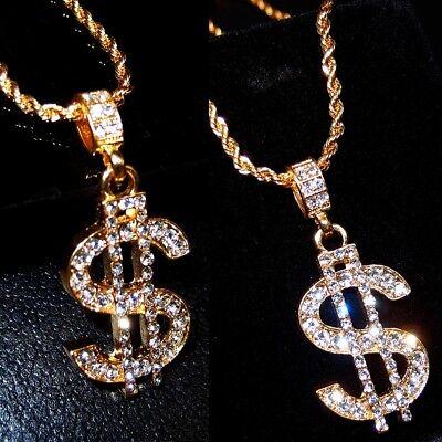 Gold Plated Dollar Sign Necklace Gangster Pimp Hip Hop Rhinestone Pendant