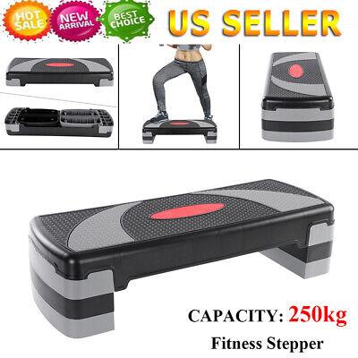 """31"""" Fitness Aerobic Step Exercise Stepper Platform w/ Riser Adjust 4""""- 6""""- 8"""" US"""