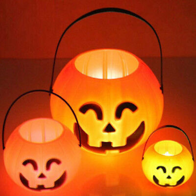 Halloween Party Props Plastic Pumpkin Bucket Light Trick or Treat Candy Bag New