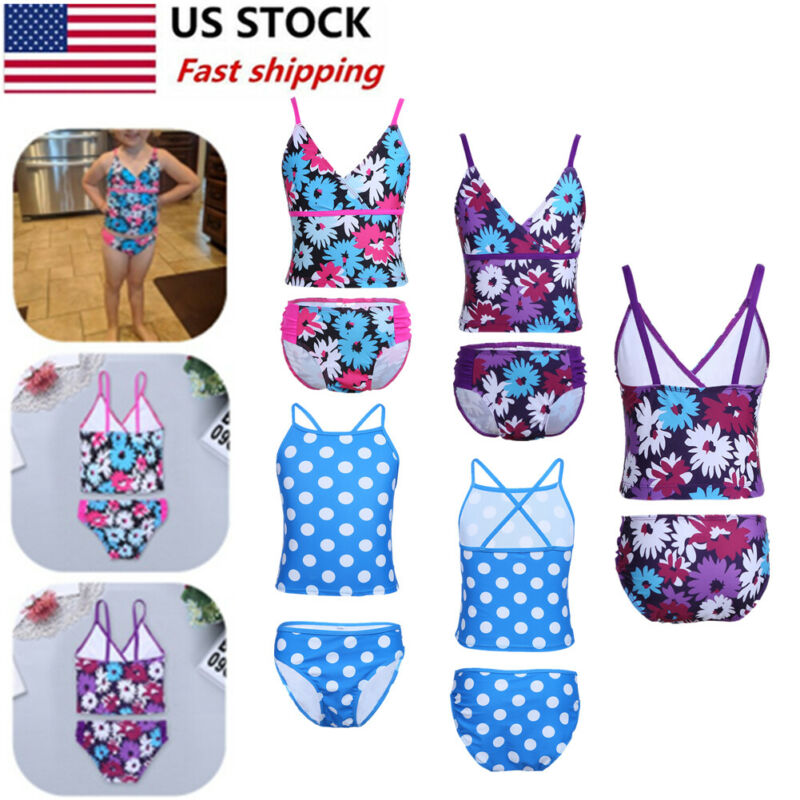 Kid Girl Swimsuit Swimwear Tankini Set Floral Tops+Bottoms Shorts Suit Beachwear