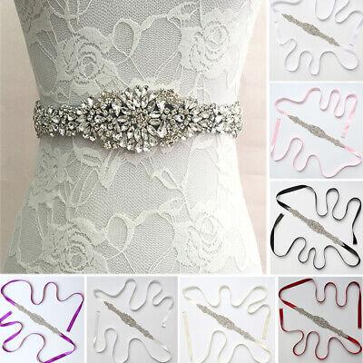 Luxury Floral Rhinestone Bridal Wedding Dress Sash Satin Ribbon Belt Waistband](Sash Belt)