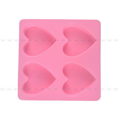 4 Hole Heart Silicone Fondant Cake Mould Decor Mold Jelly Baking Sugarcraft Tool