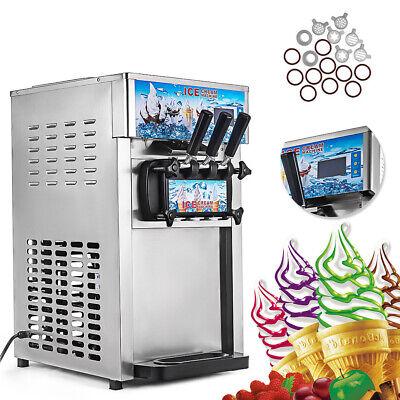 Usa Frozen Soft Serve Ice Cream Maker Machine Mix Flavors 3 Head 18lh Led