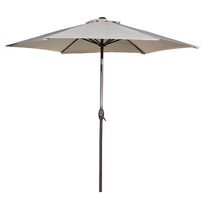 9 Ft Market Outdoor Aluminum Table Patio Umbrella W/ Push Button Tilt and Crank