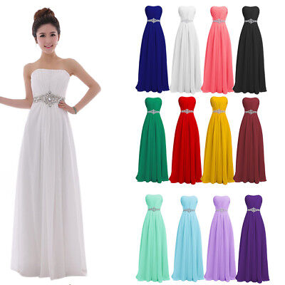 Women Formal Chiffon Bridesmaid Dress Strapless Belted Long Prom Evening Gown Strapless Formal Gown