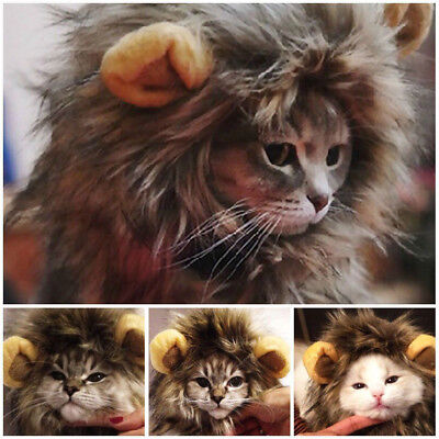 Furry Pet Dog Hat Costume Lion Mane Wig For Cat Halloween Dress Up With Ears