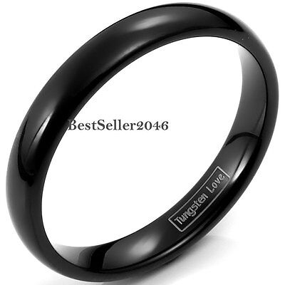 4mm Tungsten Carbide Black Dome Wedding Band Men Women Comfort Fit Ring Jewelry