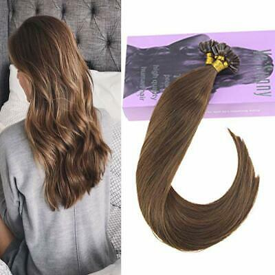 VeSunny Nail Tip Bonded Keratin U tip Hair Extensions Human Hair Medium Brown 6#