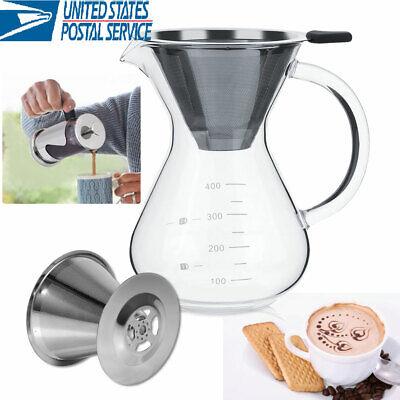 Pour Over Coffee Maker 400ML Hand Manual Coffee Dripper-Tough Borosilicate (Black Pourover Coffee Maker)