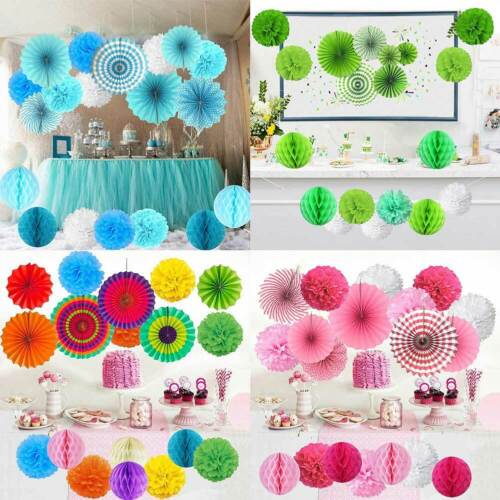 Hanging Paper Fans Tissue Flower Honeycomb Balls Home Party