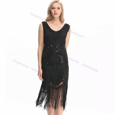 Roaring 20 Outfits (Ladies Deluxe 1920s Roaring 20s Flapper Costume Pearl Sequin Outfit Fancy)