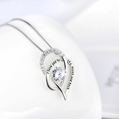 THE MOON AND BACK Mother Daughter Love Heart Pendant Necklace Family Jewelry GX