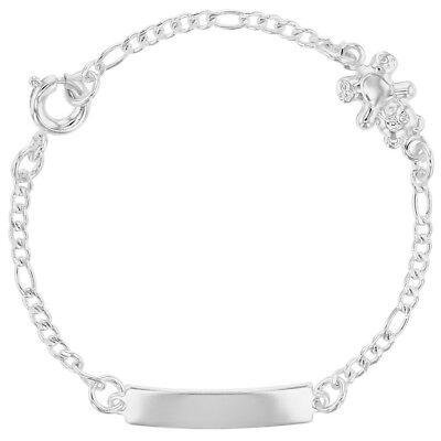 Silver Plated Teddy Bear Bracelet Link Identification Toddler Children Kids 5