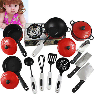 Kids Kitchen Play Set Toy Pretend Cooking Food Role Toys Gift Playset Cookware