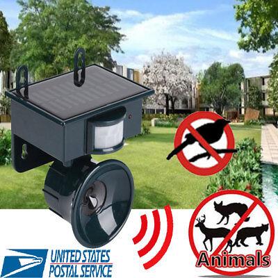Solar PIR Motion Sensor Ultrasonic Bird Bat Repeller Mouse Chaser Pest Animal US