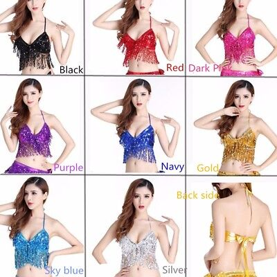 Belly Dance Costume Top ( No Pad ) Sequined Performance Halloween Hot dance top