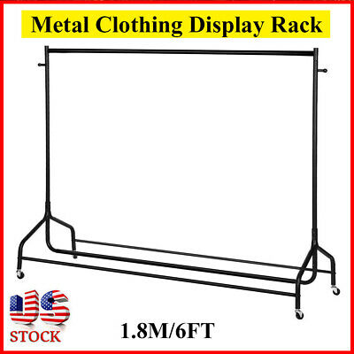 6FT Metal Garment Clothes Rail Heavy Duty Hanging Rack Display Stand W/Wheel