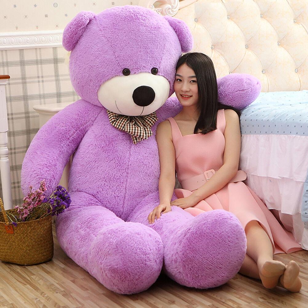 Giant Teddy Bear Purple Huge Stuffed Plush Animals Toy Doll Birthdays Gift 47