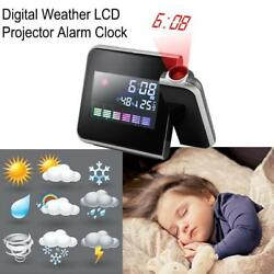 Digital Weather Temperature Humidity LED Laser Wall Projector Snooze Alarm Clock