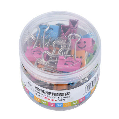 40pcs Cute Smile Metal Binder Clips For Home Office School File Paper Organizer