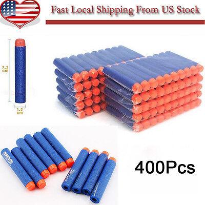 Lot 400pc 7.2CM Blue Toy Gun Bullet Darts Round Head Blasters For NERF N-Strike