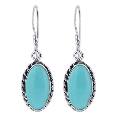 925 Sterling Silver Oval Simulated Turquoise Stone Drop Earrings