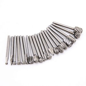 20Pcs 3mm Shank HSS Router Grinding Burr Drill Bits Sets For Dremel Rotary Tools