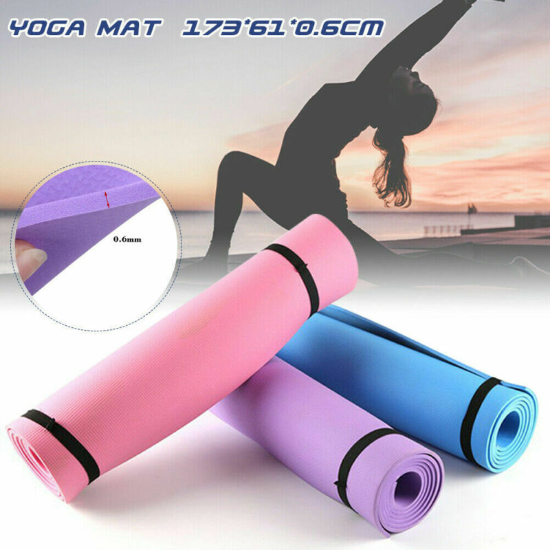 EVA Yoga Mat6mm High Density Non-Slip MultiFunction Exercise with Carrying Strap