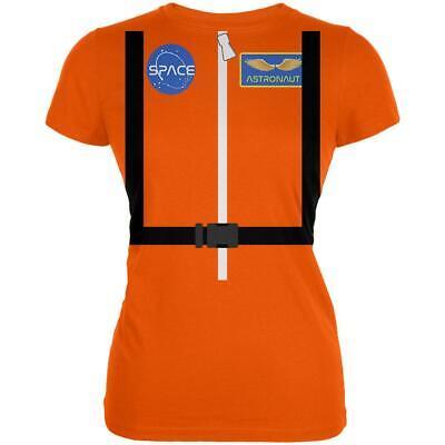 Costume Orange Escape Suit Juniors Soft T Shirt (Halloween-astronaut)