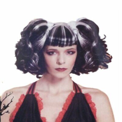 Womens Bad Fairy Wig Streaked Black & White Pig Tails with Blunt Bangs Bad Fairy Wig
