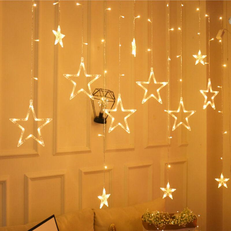 UK+Mains+138LED+Star+Curtain+Window+Fairy+Lights+Twinkle+Christmas+Party+Wedding