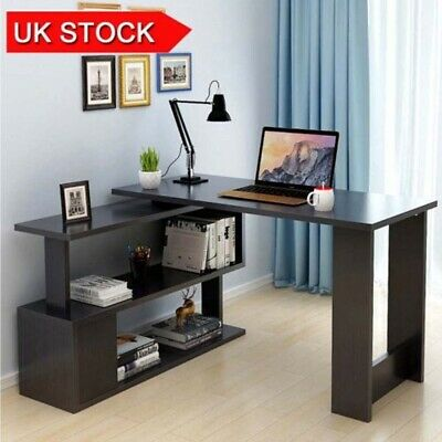 Large Corner Computer Desk with 3 Shelf Home Office Extending Office Furniture