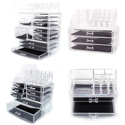 Clear Acrylic Cosmetic Jewelry Organizer Drawers Makeup Case Display Storage Box