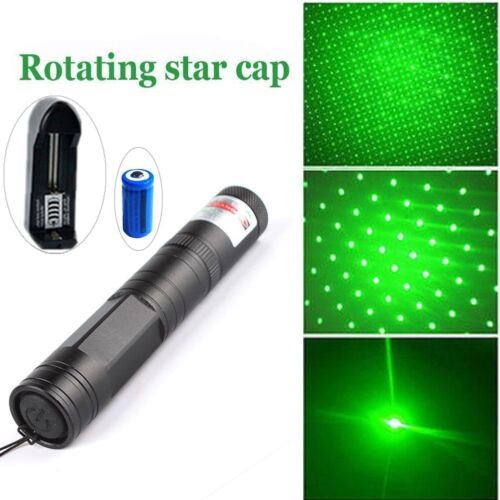 50Miles 532nm Green Laser Pointer Pen Visible Beam Lazer +16340 Battery+Star Cap