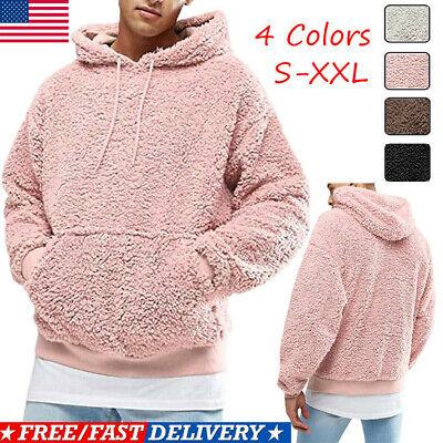 Men Winter Fluffy Hoodie Pullover Fleece Sweatshirt Hooded Coat Sweater Jumpers Fleece Winter Pullover Sweatshirt