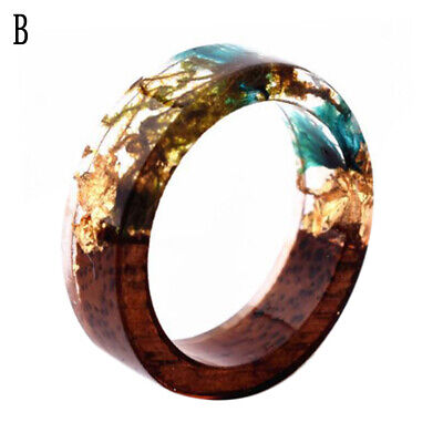 WOOD RESIN RING HANDMADE RING WOODEN RING FASHION GIFT FOR WOMAN BLUE COLOR