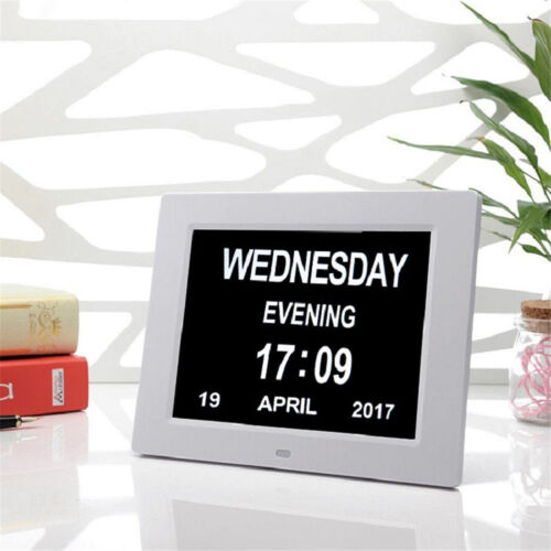 """8"""" LED Dementia Digital Calendar Day Clock Large Time Day/Week/Month/Year Colors"""