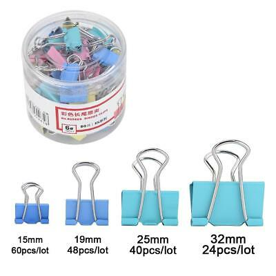 60pcs Colorful Metal Binder Clips File Paper Clip Holder Office School Supplies