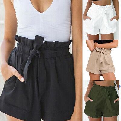 US Womens High Waist Tie Belt Paper Bag Shorts Ladies Summer Hot Pants Size 6-14