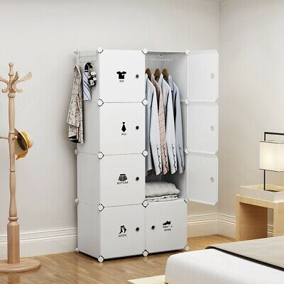 Portable Wardrobe Storage Closet Plastic Armoire, White, 2x4 Tiers, 18