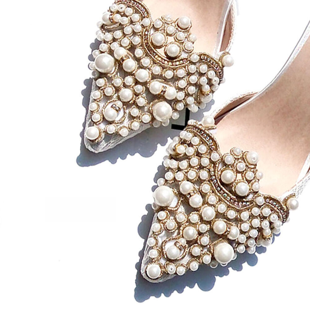 2pcs Pearl Flower Shoes Hat Rhinestones Iron on Pearl Patch Badge Applique Craft