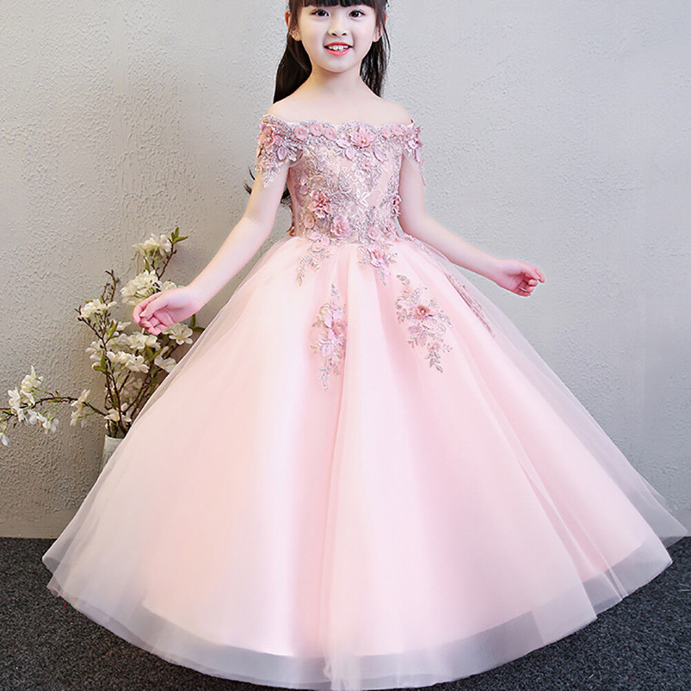 Vintage Lace Tulle Flower Girl Dress Wedding Communion Princess Pageant Gown New