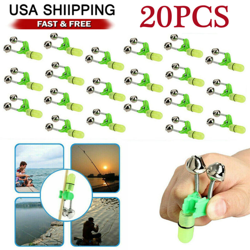 20 PCS LED Night Fishing Bite Bait Alarm 2 Bells Light Rod Tip Clip Alert Ring