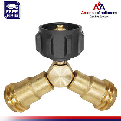 Camplux Brass Propane Gas Fitting Tee Adapter Y-Splitter 1-Male QCC & 2-Female